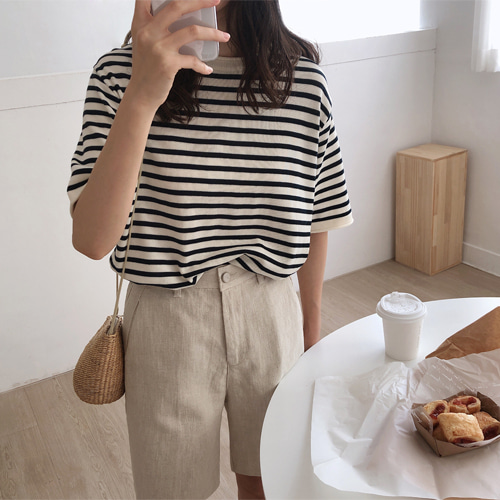 plafo stripe knit (블루/네이비)