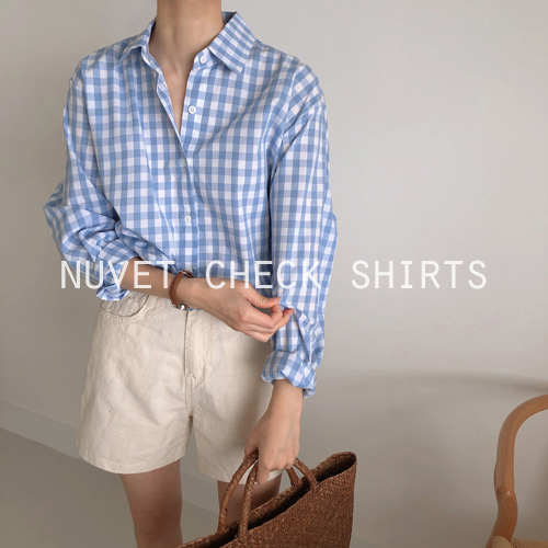 nuvet check shirts (퍼플/소라)