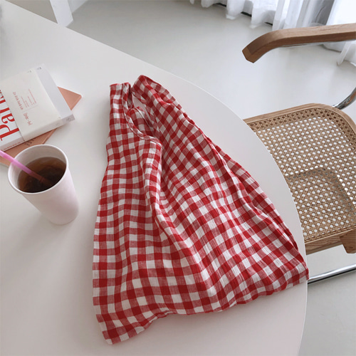 vincent linen check bag (레드/블루/블랙)